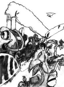 Bandits attacking a train