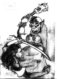 Orc attacking a fighter