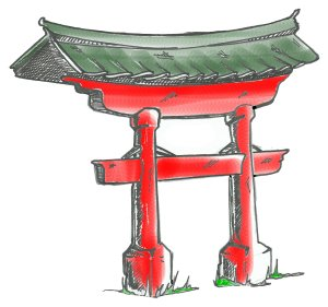 Japanese Gate Drawing