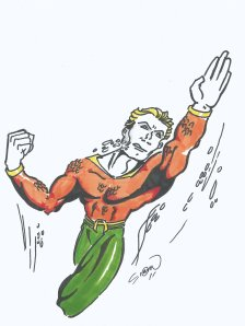 Classic Aquaman Swimming Drawing