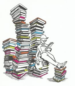 Person reading a pile of books